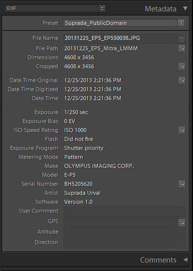Exif Info right after importing into Lightroom